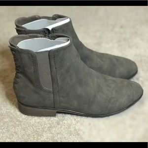 Grayish suede ankle boots